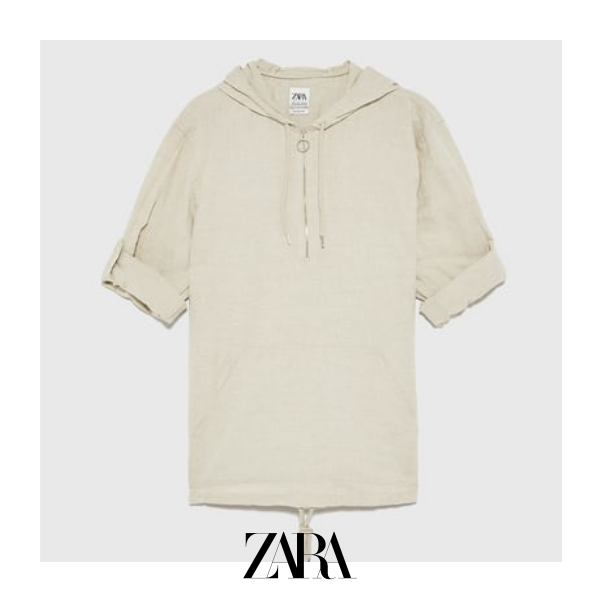 8d5592de6a ZARA - Male - Rustic hooded shirt   Products in 2019   Shirts, Mens ...