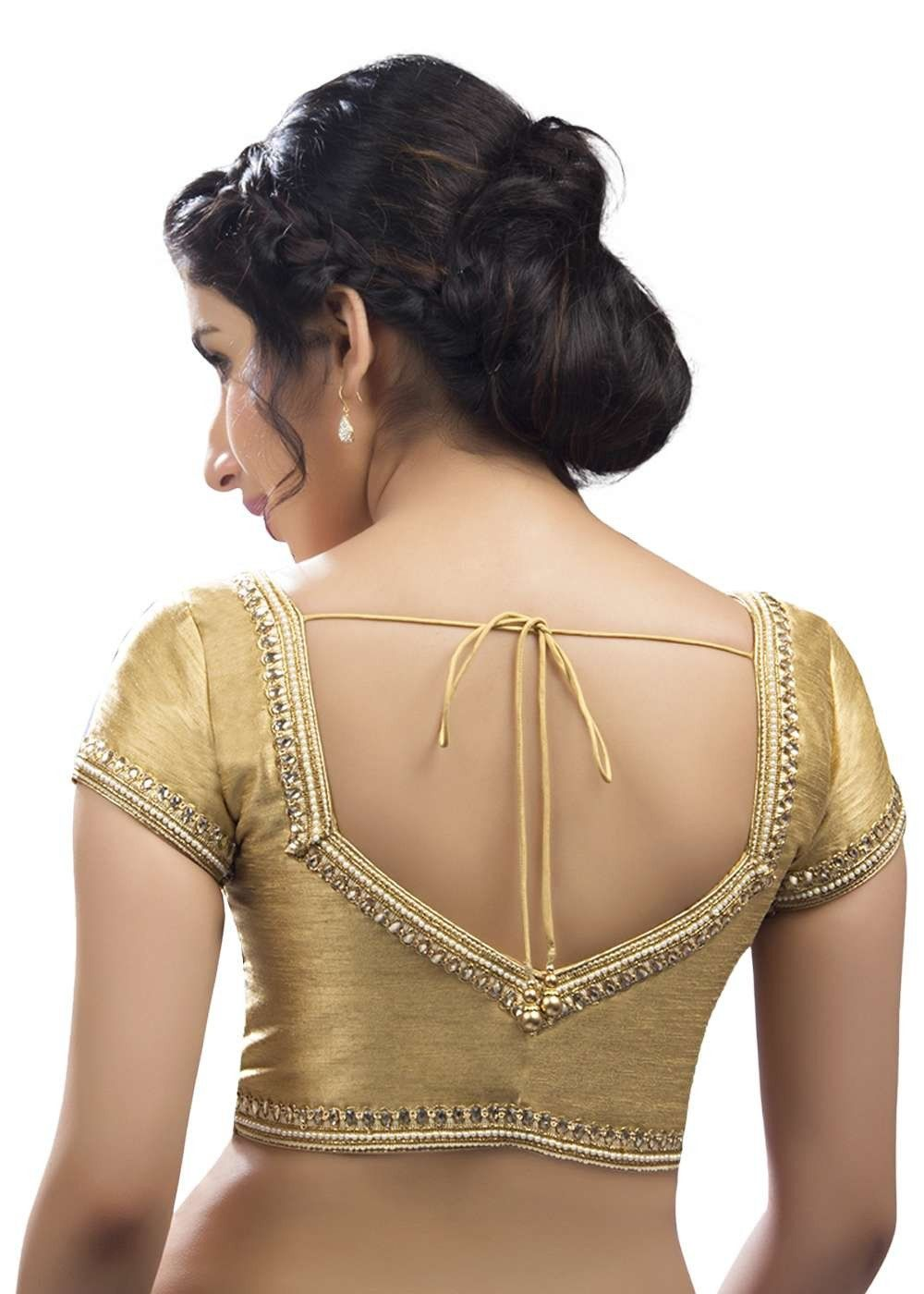 dcdd25faa06308 Ravishing Moti Laced Gold Ready-made Saree Blouse SNT-X-234-SL ...