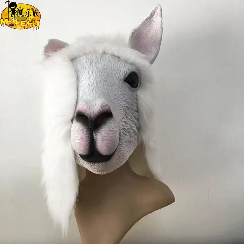 Pawaca Novelty Alpaca Head Mask Halloween Costume Party Mask Latex Animal Mask Adults Size