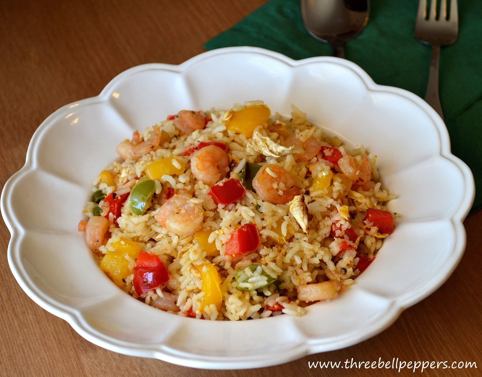 Three Bell Peppers: Prawns Bell Peppers(Capsicum) Fried Rice