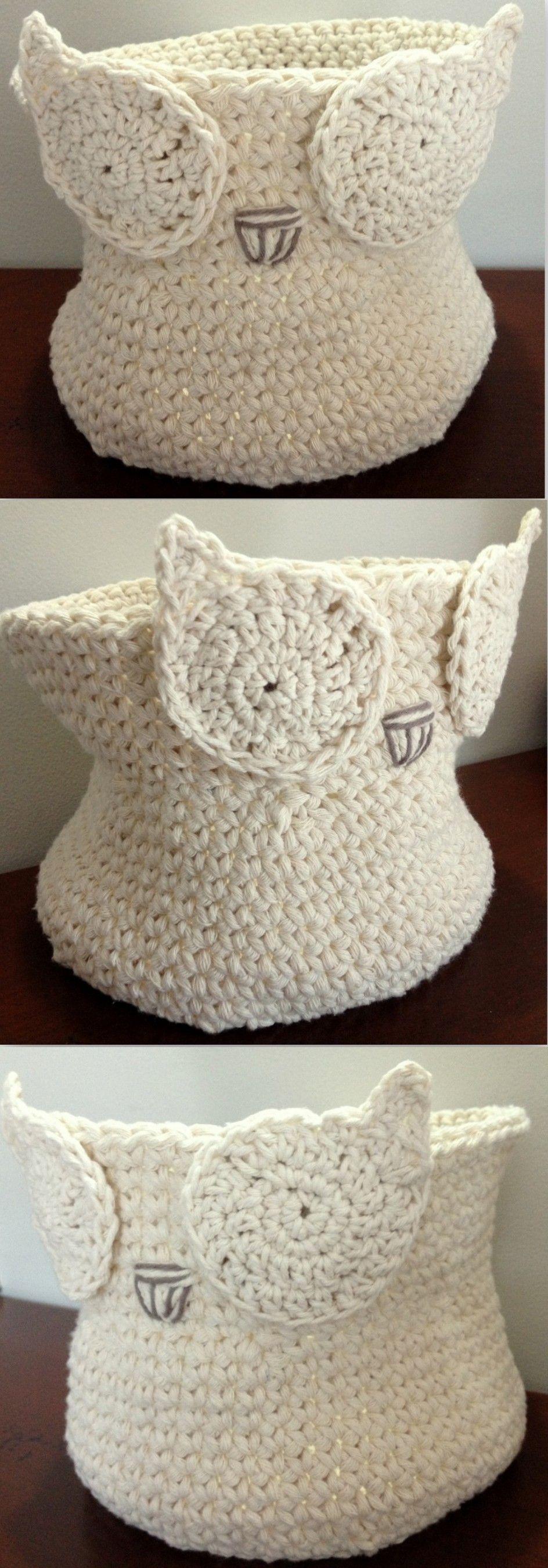 Canasta a crochet de Buho. Contáctanos: www.facebook.com ...