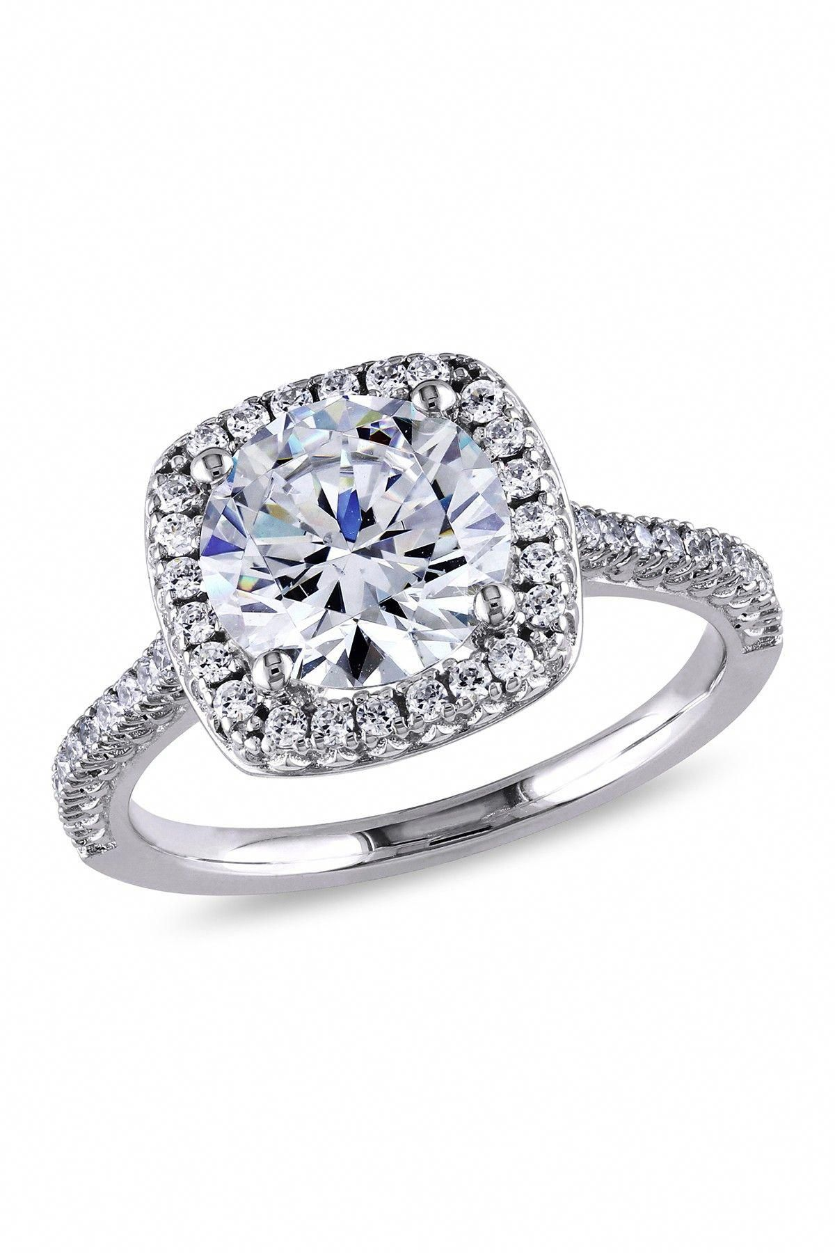 Sterling Silver CZ Cushion Halo Ring