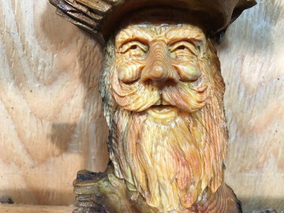 Wood Spirit wood carving Elf Wizard Tree Spirit wall decor gift ...