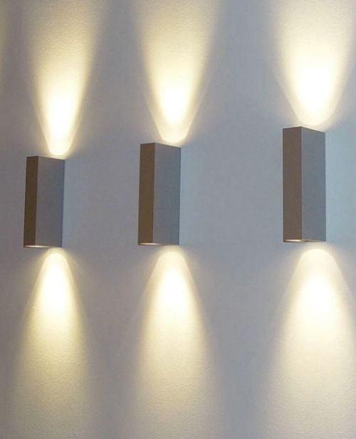 Imagine with me: Hung images between these wall lights...and best of all, the lights are battery ...