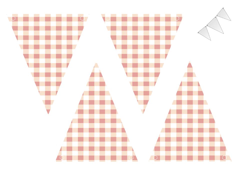 Bandeirinhas estampa xadrez para imprimir grátis para a decoração de festa junina ~ VillarteDesign Artesanato
