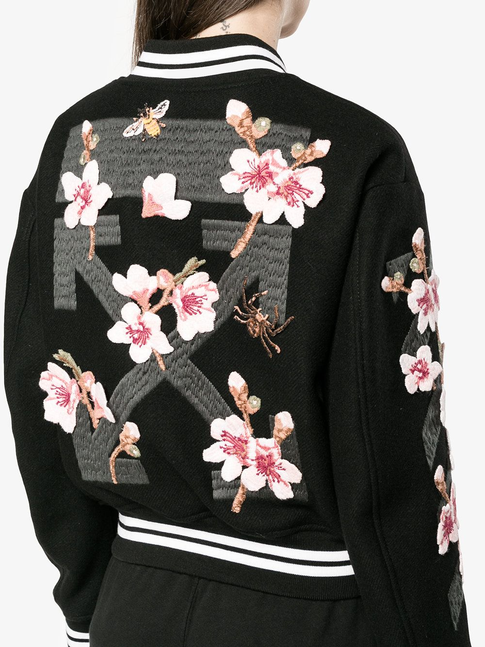 aeee020496c6 Off-White floral embroidered varsity jacket