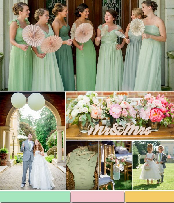 Pistachio Mint Green And Pink Spring Summer Wedding Color Palette 2017