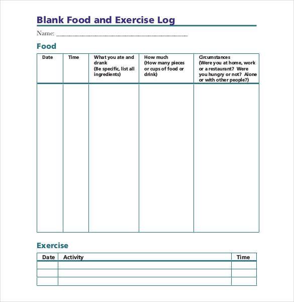 Food Log Templates 16+ Free Word, Excel  PDF Formats Sample