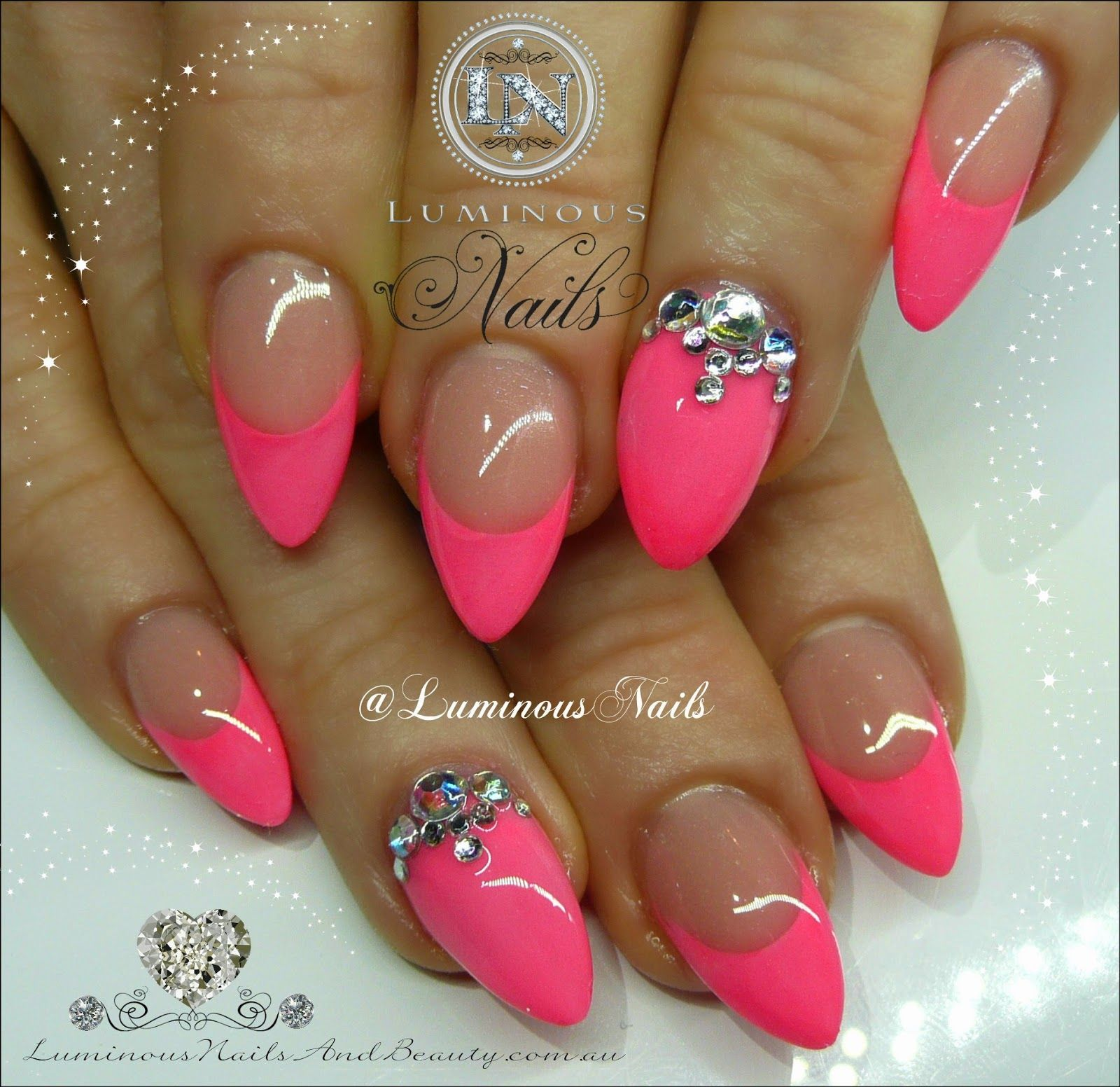 Luminous+Nails+&+Beauty,+Gold+Coast+Queensland.+Hot+Pink+Nails+with+ ...