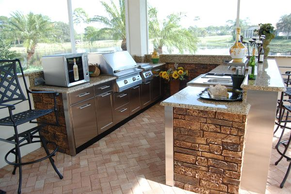 This Outdoor Kitchen Features A Good View Of The Nature Scenery
