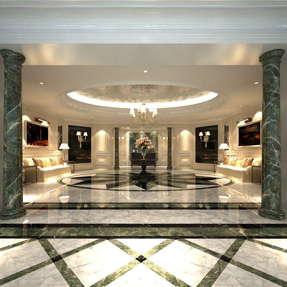 luxury lobby Luxury Lobby With Marble Floor 3D model