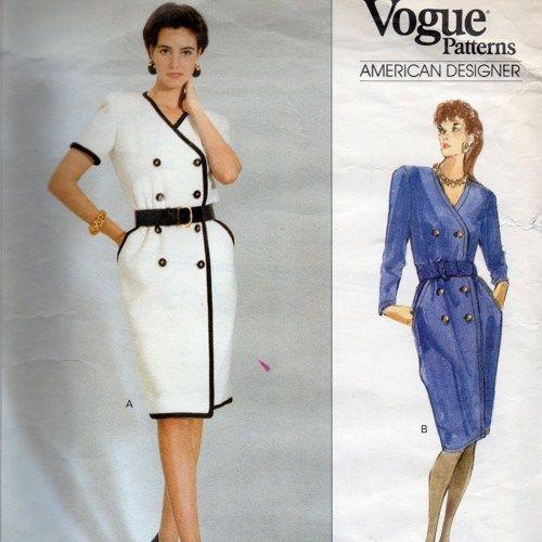 Vogue 2460 Oscar de la Renta Coat Dress Pattern SZ 8 10 12 UNCUT