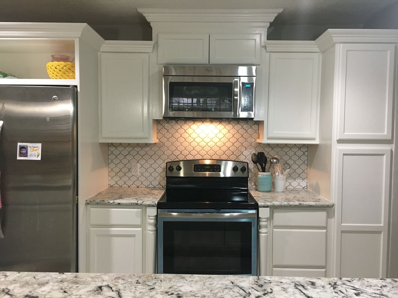 Our Kitchen Moroccan Tile Backsplash Alaska White Granite Countertop