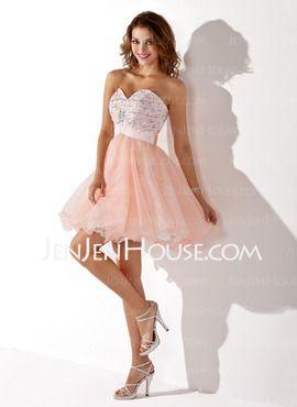 A-linje Sweetheart Kort Satin Tyl Homecoming Kjoler med Perlebesat (022009078) - JenJenHouse.com