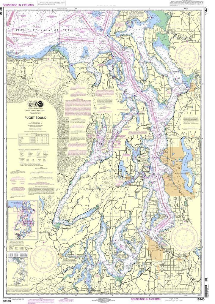 Noaa Nautical Chart 18440 Puget Sound Nautical Chart Wall Art Prints Prints