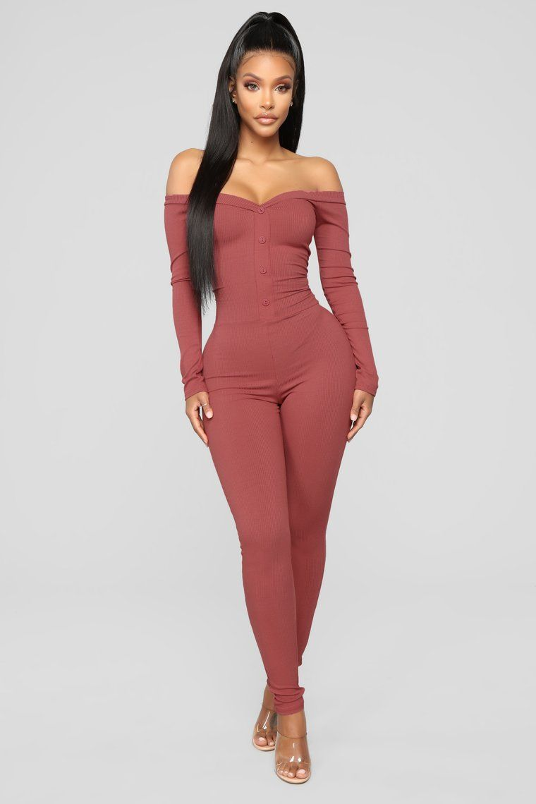 9038814dc Fool In Love Off The Shoulder Jumpsuit - Mauve in 2019 | girly ...
