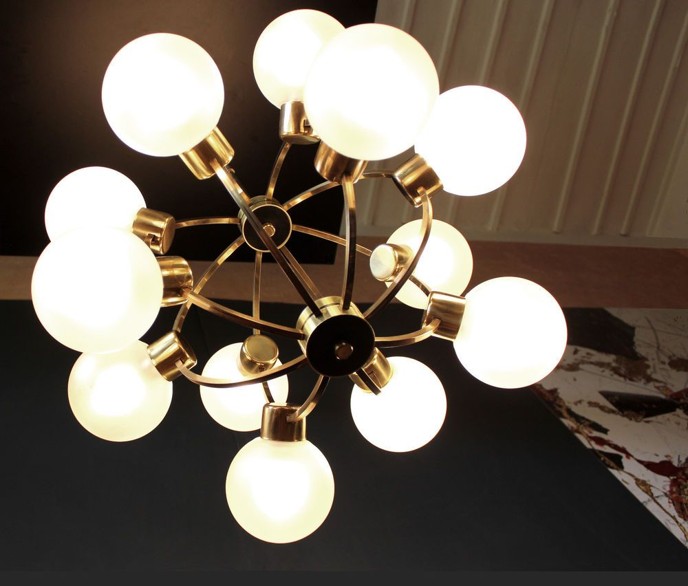 1960s german brass sputnik atomic chandelier 12 frosted glass globe 1960s german brass sputnik atomic chandelier 12 frosted glass globe shades arubaitofo Image collections