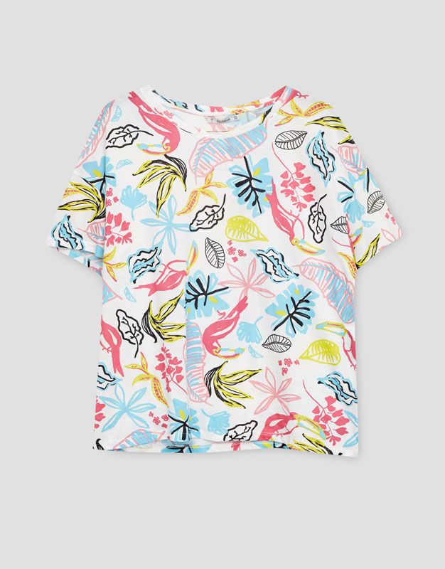 Camiseta estampado tropical - Camisetas - Ropa - Mujer - PULL&BEAR México
