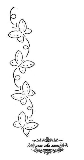 vintage butterflies embroidery pattern Lindo risco para bordar.♥