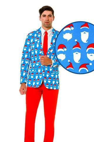 light blue ugly christmas sweater suit with santas face pattern - Christmas Sweater Suit