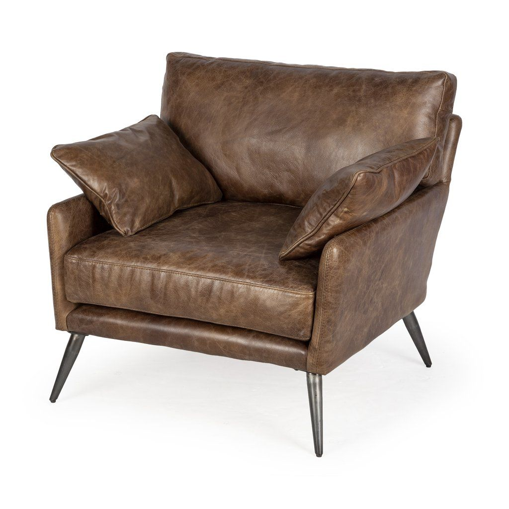 Whiskey Leather Scandinavian Armchair Organicmodernarmchair Leatherscandinavianstylearmchair Mid Centur In 2020 Brown Leather Chairs Top Grain Leather Leisure Chair