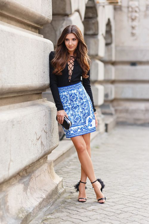 Wildest DreamsShein lace up V neck top Romwe porcelain print skirt Marc Jacobs watchMissguided clutch Little Mistress sandalsFashion by The Mysterious Girl