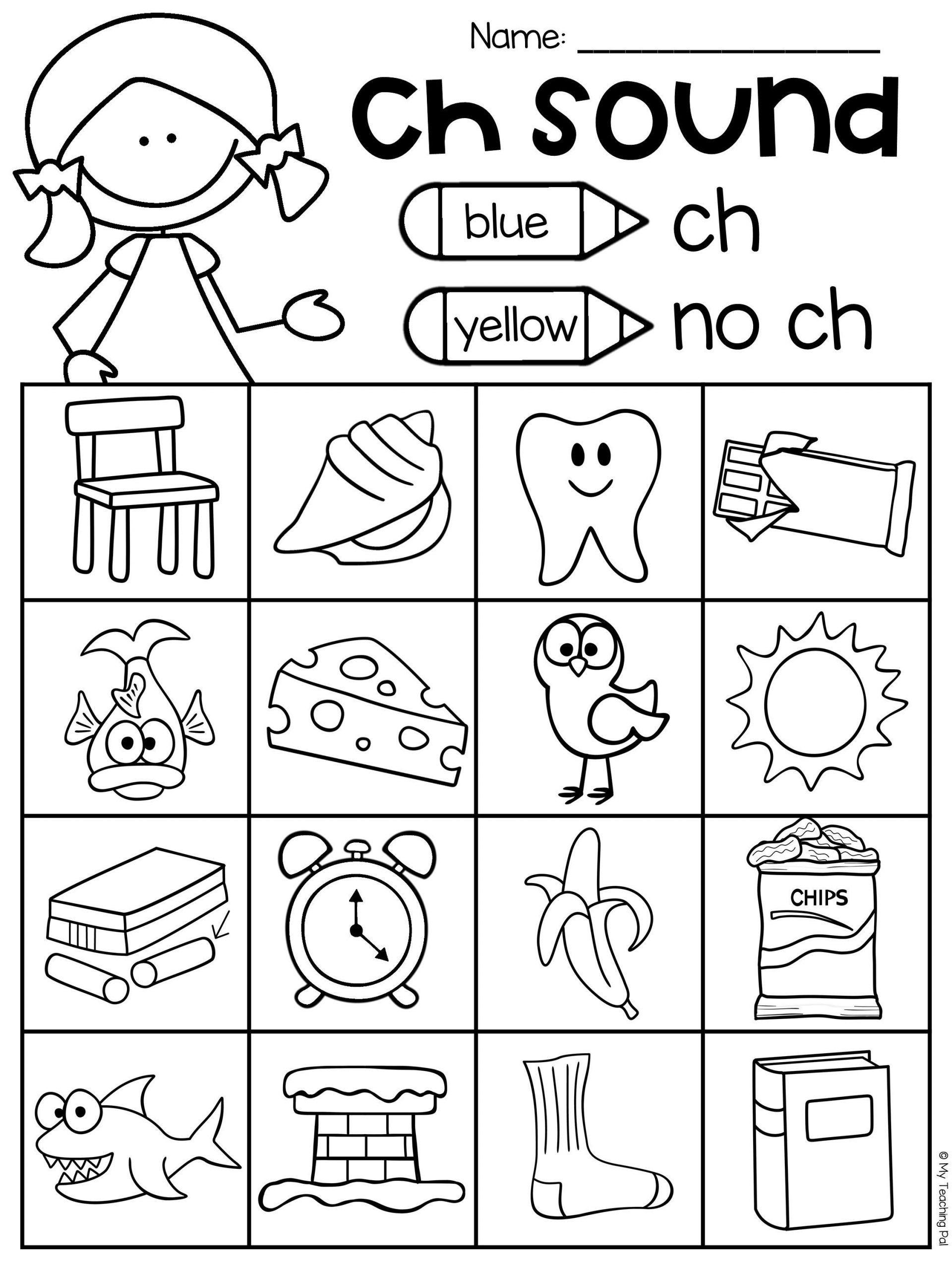 Ch Worksheets For Kindergarten In