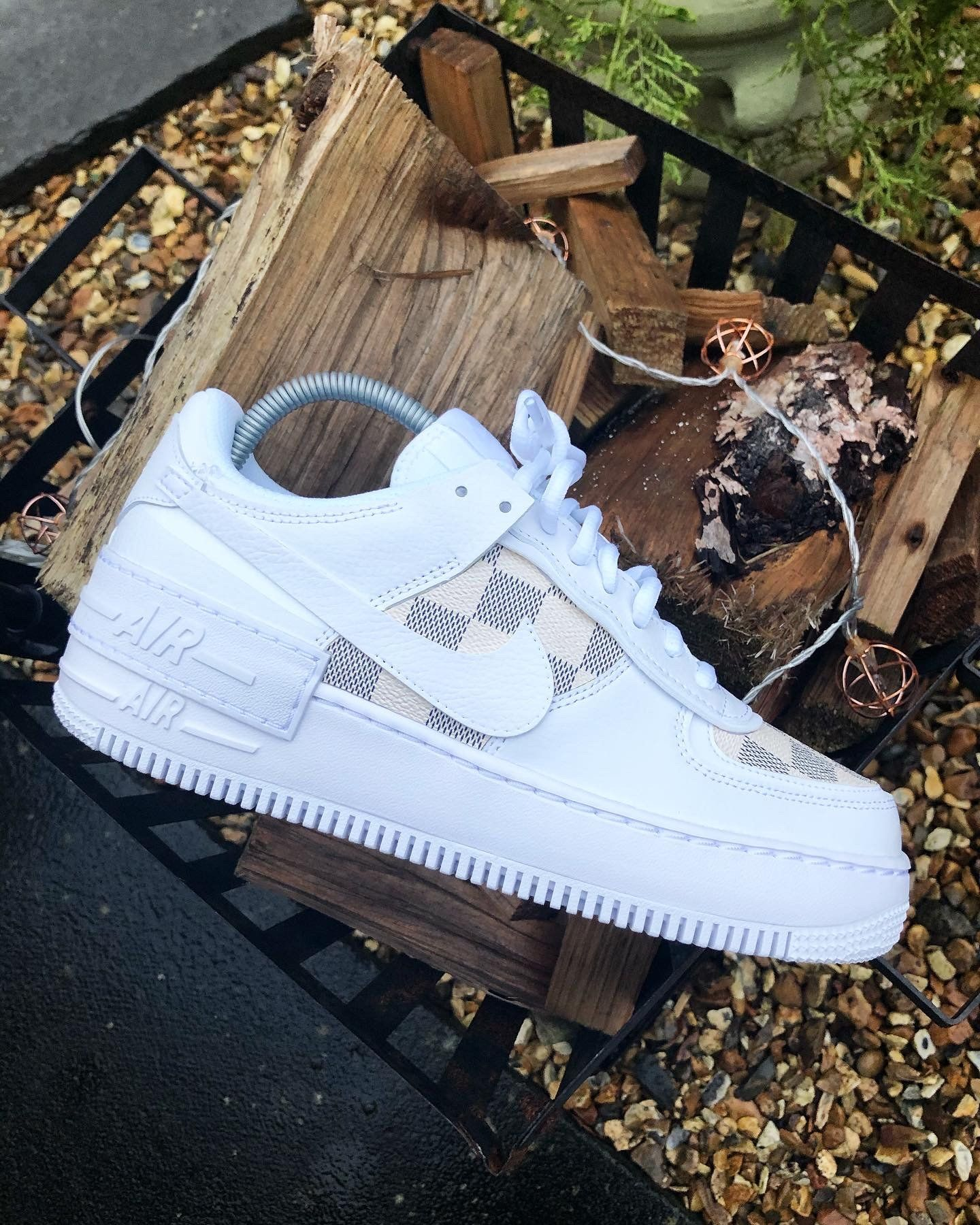 White Damier Lv Af1 Shadow Pre Order In 2020 Nike Shoes Air Force Custom Nike Shoes Shoe Company