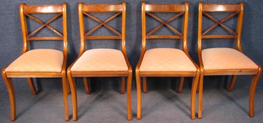 ecc781f309f9 Set Of 4 Regency Style Yew Wood Coloured Mahogany Framed Dining Chairs