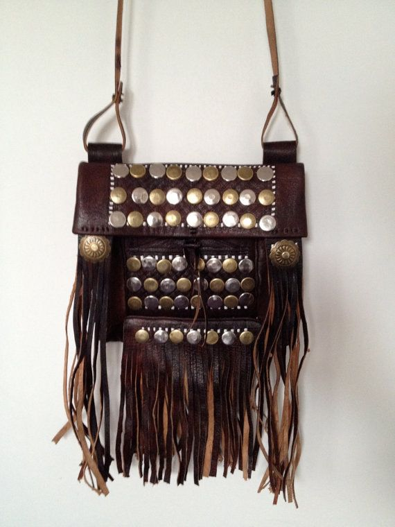 Moroccan tuareg leather fringe bag with studs by BazaarLiving e7ca1e9ccb1a2