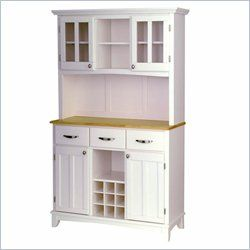 "Buffet Tables, Buffet Servers, Sideboards | Cymax.com - $509.95 - Home Styles Furniture Wood Top Buffet Server and 2-Door Hutch in White (41.75""w x 17""d x 72""h) [might be a nice coffee/beverage area if a built-in isn't done)"
