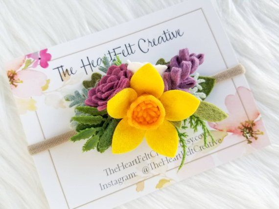 Spring Felt Flower Crown, Felt Flower Headband, Daffodil Flower Crown #feltflowerheadbands
