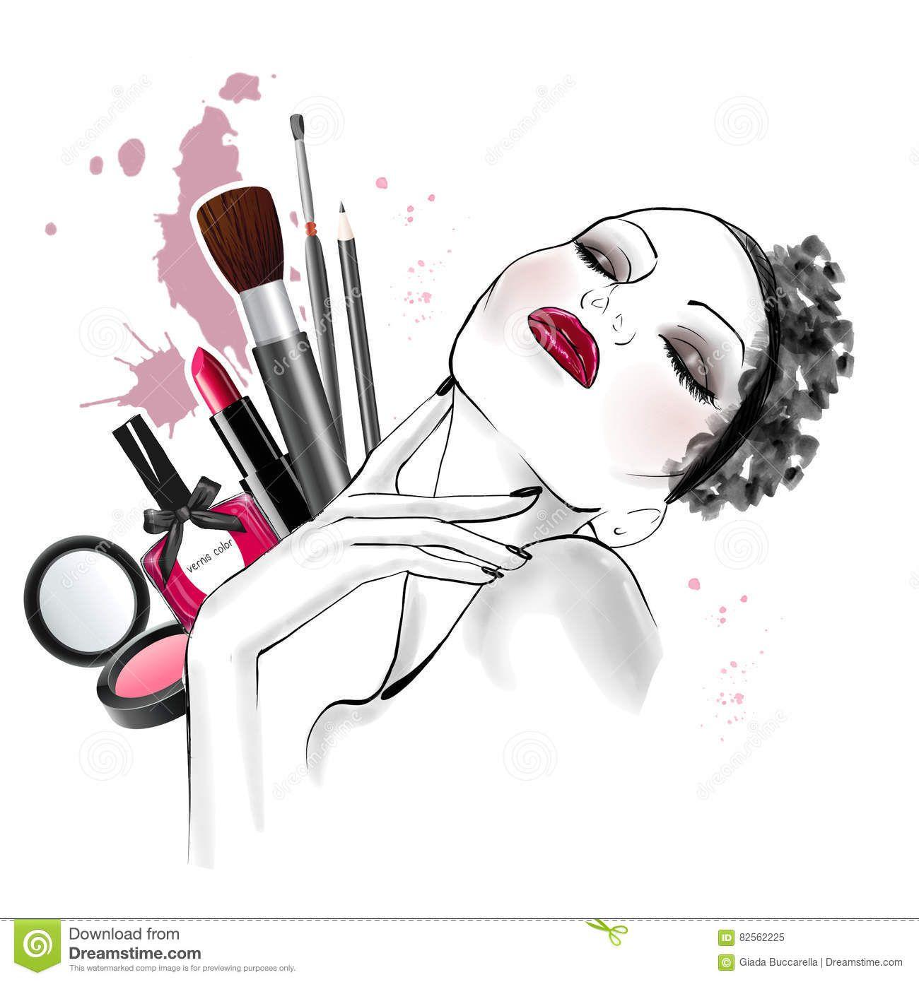 Live cosméticos Coisas de maquiagem, Ilustração de