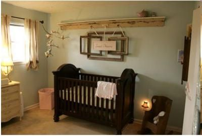 More of the same color scheme, but I also love the frames above the crib (but I doubt I'd hang it above where my baby is sleeping).