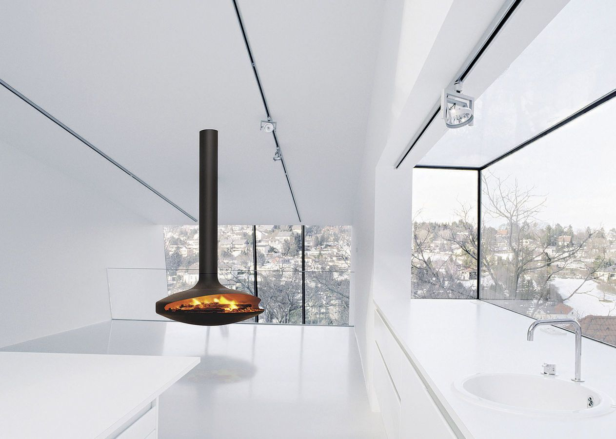 chimenea suspendida moderna hogar abierto de lea gyrofocus focus