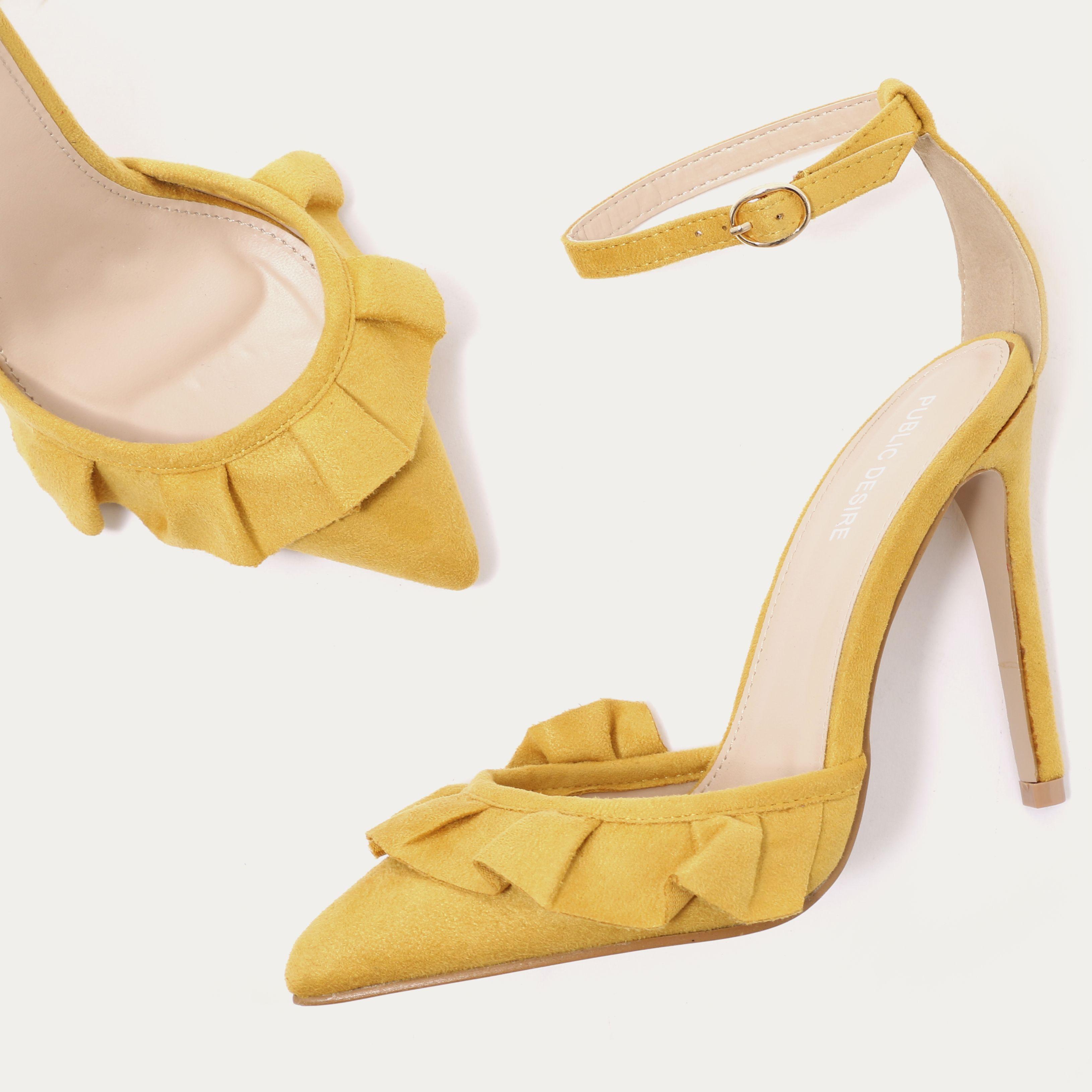 7cc52602b27 Habit Ruffle Strappy Court Heels in Mustard Faux Suede