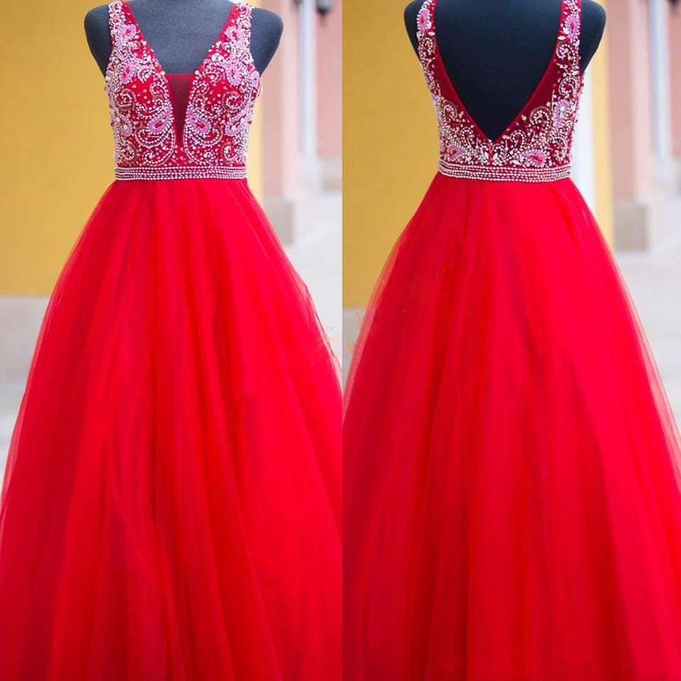 Click to buy ucuc sexy backless v neck a line prom dresses hot