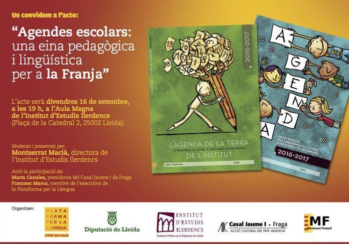 La Plataforma per la Llengua presenta les Agendes escolars per a la Franja | Notícies | Plataforma per la Llengua