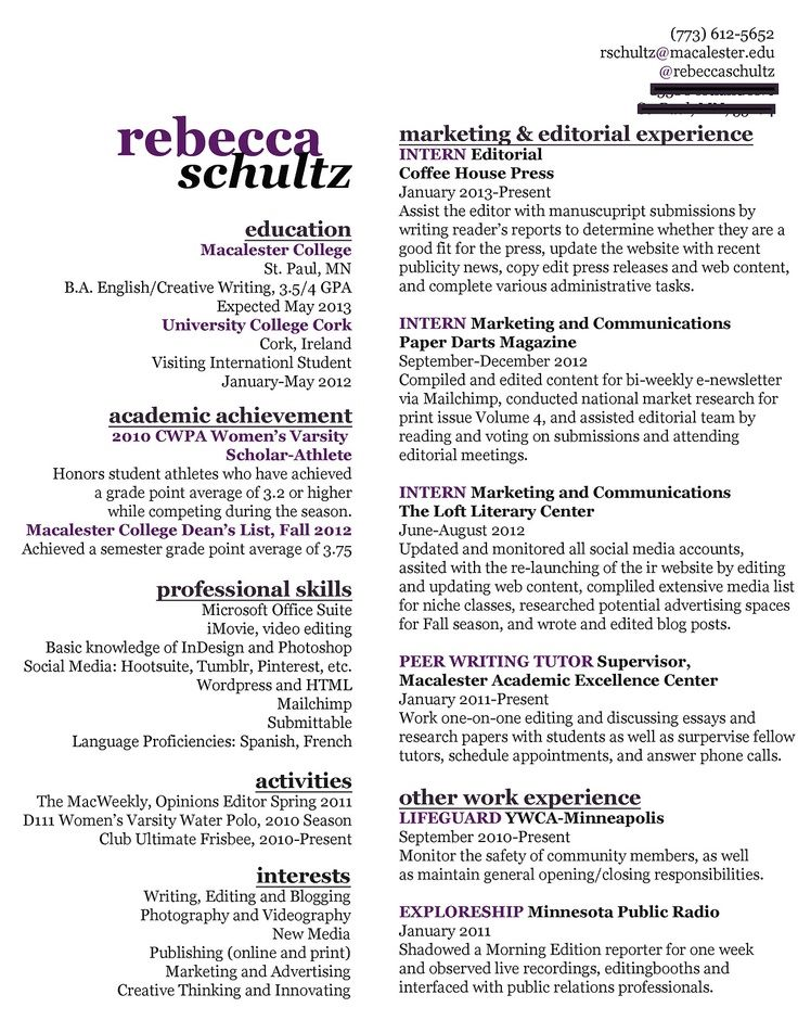 Nice use of space, fit a lot of info on one page Woman at Work - marketing assistant sample resume