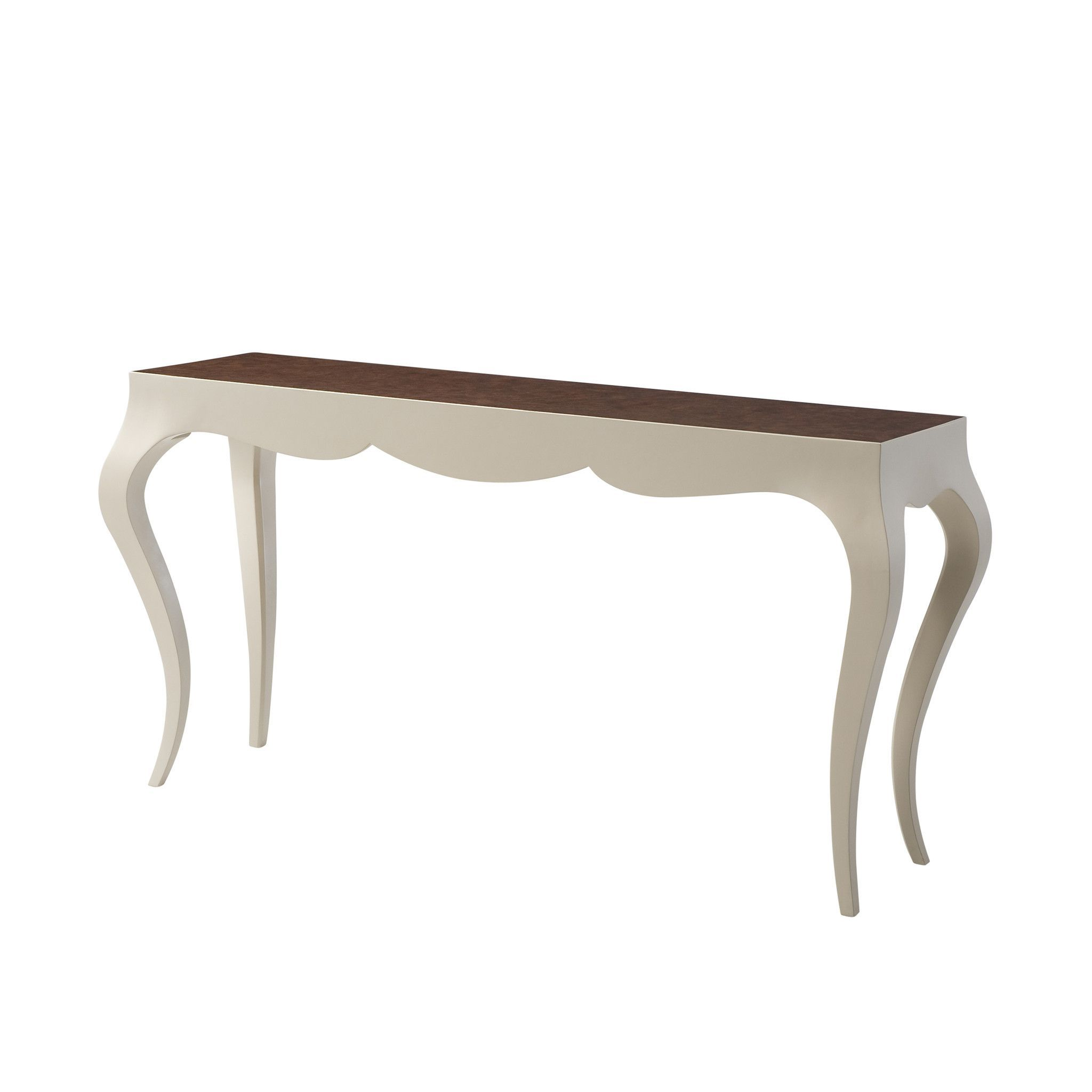 Ivory Lacquered And Weathered Walnut Burl Veneered Console Table