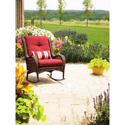 Better Homes And Gardens Azalea Ridge Porch Deck And Patio Rocking Chair  All Weather Outdoor Wicker