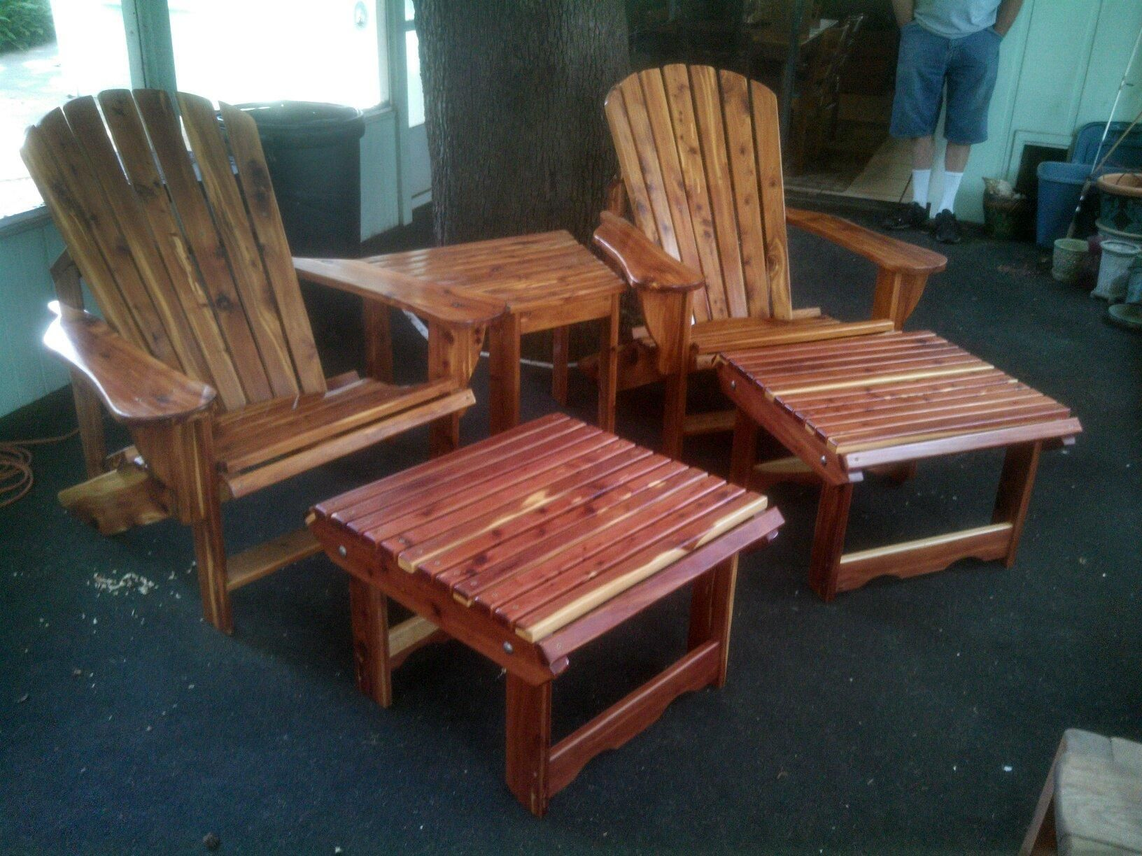 Native Florida Cedar Adirondack Chairs Table And Foot