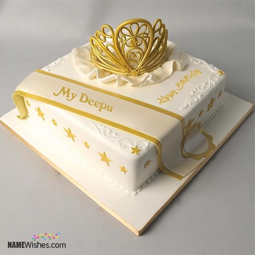 The Name My Deepu Is Generated On Queen Birthday Cake