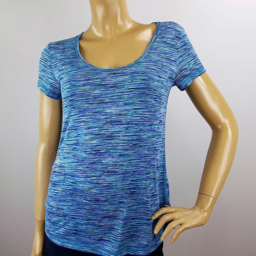 Ideology Womens Athletic Yoga Top Short Sleeve Blue Green