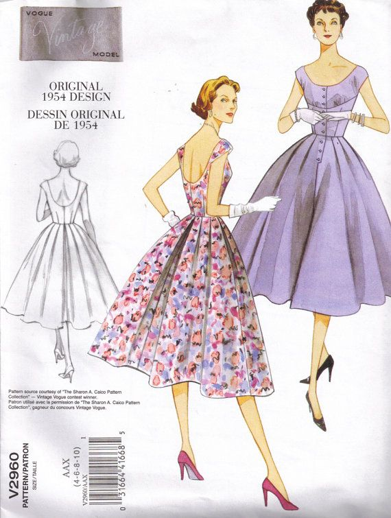 Retro 50s Vintage Model Styled Dress Vogue 2960 Sewing Pattern Plus ...