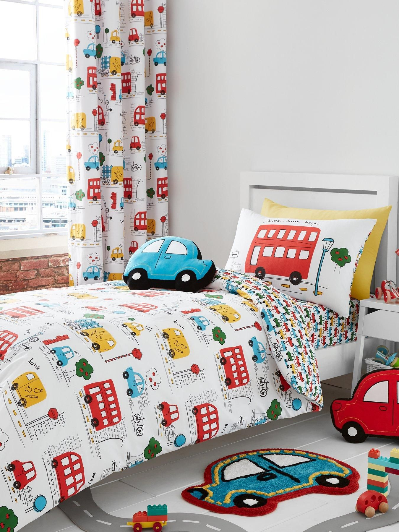 Cars Duvet Cover Set Transport Themed Bedding Bed Set or Curtains