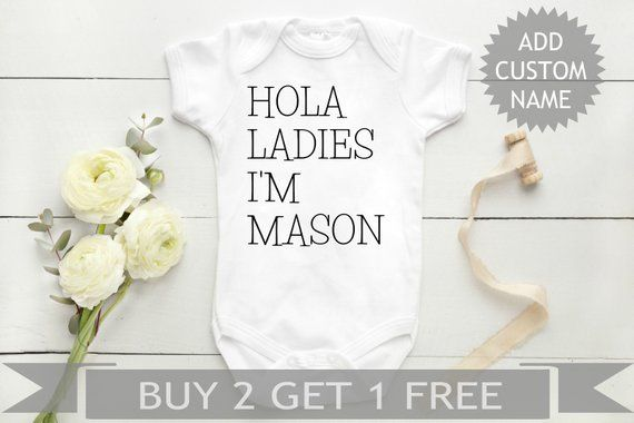 Custom Baby, Personalized Baby, Hola Ladies, Newborn Baby Clothes, Baby Shower Gift, Take Home, Going Home Outfit, Baby Boy Clothes #grandpagifts