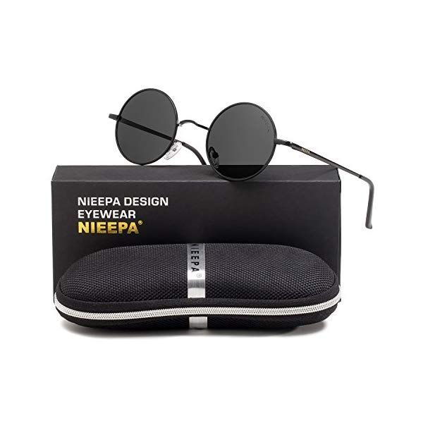 875b89015c NIEEPA John Lennon Vintage Round Polarized Hippie Sunglasses Small ...