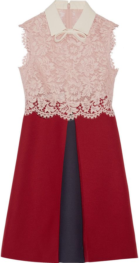 Valentino Lace and Wool and Silk-Blend Crepe Mini Dress ...