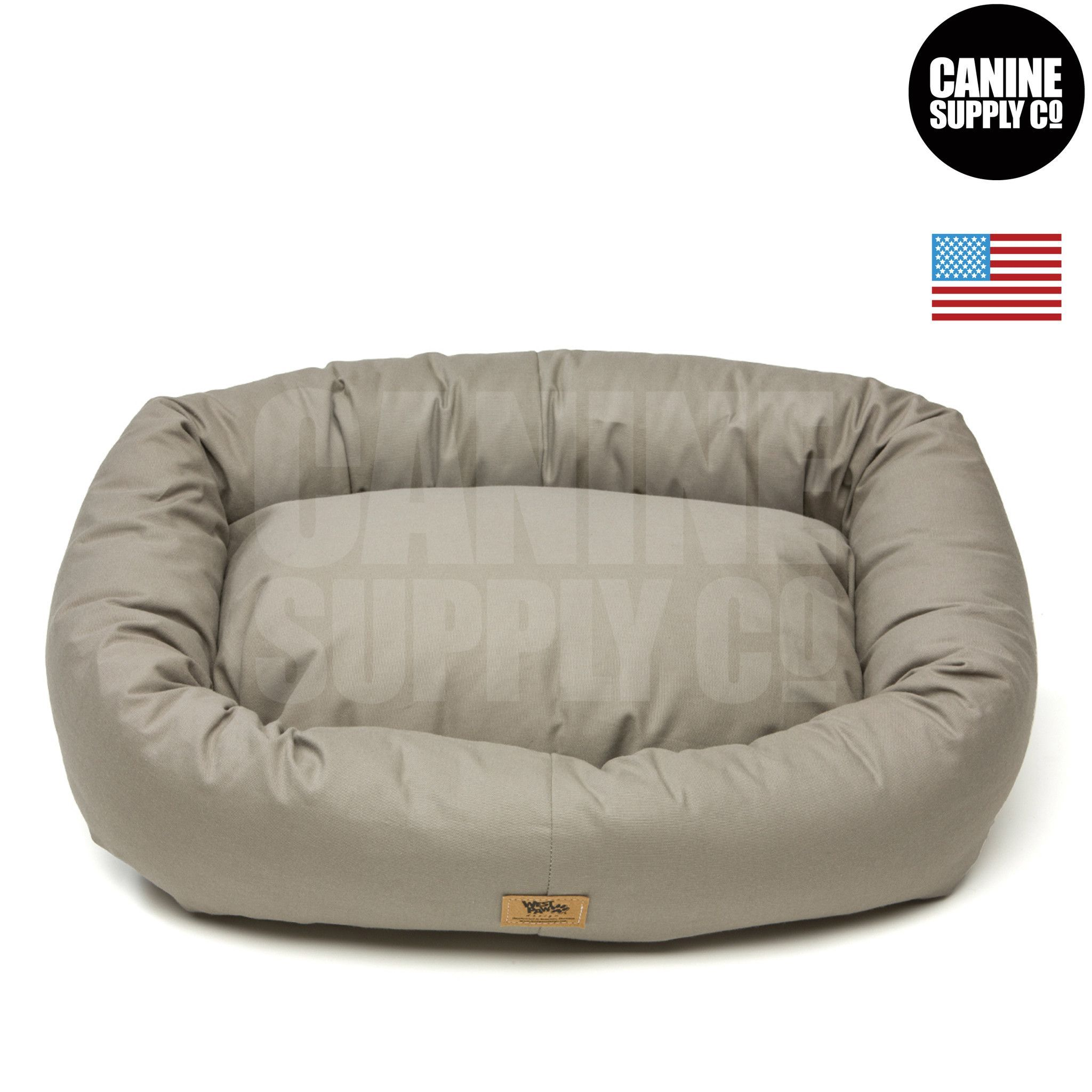 Bumper Bed with Brushed Cotton + Walnut Color Dog Beds